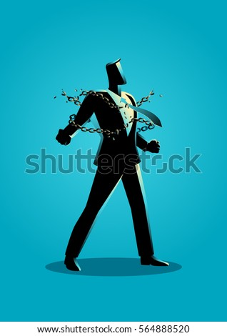 Business concept illustration of a businessman breaking chains, freedom, spirit, struggle, revolution in business concept