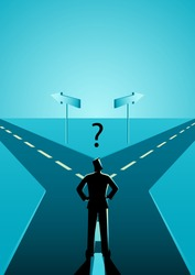 Business concept illustration of a businessman choosing which path he should go