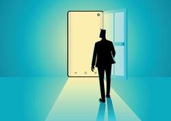 Business concept illustration of a businessman walking into a smart phone. Modern technology, digital, online business opportunities