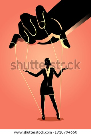 Business concept illustration of a businesswoman being controlled by puppet master Zdjęcia stock ©