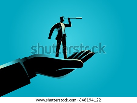 Business concept illustration of a hand holding a businessman using telescope
