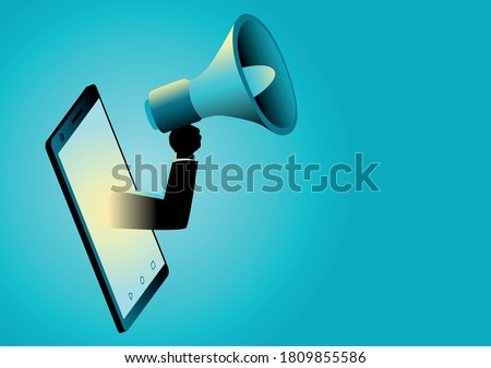 Business concept illustration of a hand holding a megaphone appearing from smart phone. Digital marketing, communication, advertisement concept Foto stock ©