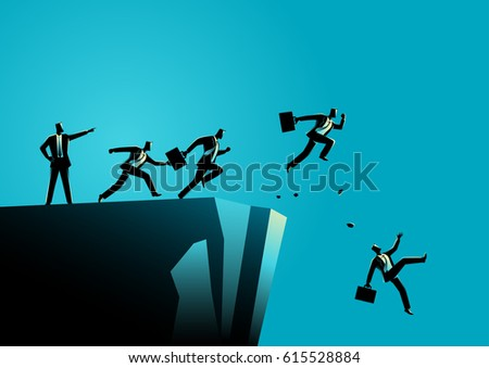 Business concept illustration of a leader pointing to the wrong way to his subordinates. Bad leadership concept