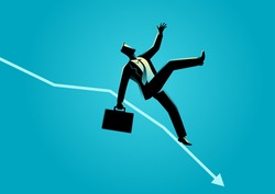 Business concept illustration of businessman fall down on decreasing graphic chart, business failure, crisis concept