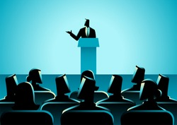 Business concept illustration of businessman giving a speech on stage. Audience, seminar, conference theme
