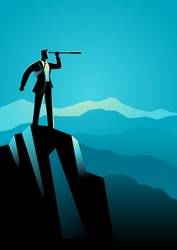 Business concept illustration of businessman using telescope on top of the mountain