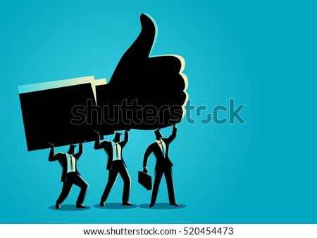 Business concept illustration of businessmen holding up giant thumb up hand, teamwork for success