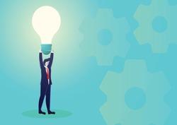 Business concept illustration of businessmen lifting up a light bulb, bright idea, brilliant ideas
