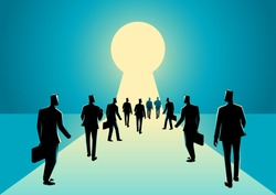 Business concept illustration of businessmen walking into keyhole with bright light