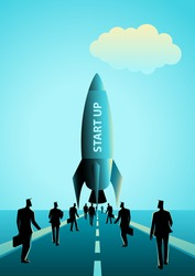 Business concept illustration of group of businessman walking towards a rocket. Start up business concept