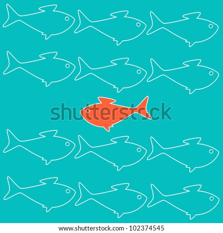 Business concept illustration with goldfish moving against stream