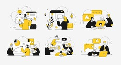 Business concept illustrations. Collection of scenes at office with men and women taking part in business activity. Outline vector illustration.
