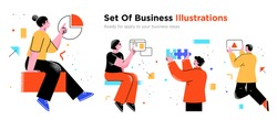 Business Concept illustrations. Collection of scenes with men and women taking part in business activities. Trendy vector style.