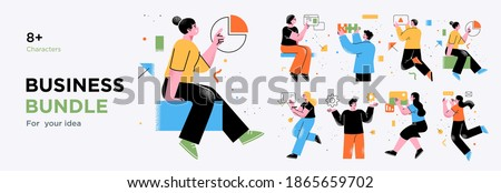 Business Concept illustrations. Collection of scenes with men and women taking part in business activities. Trendy vector style. Foto stock ©