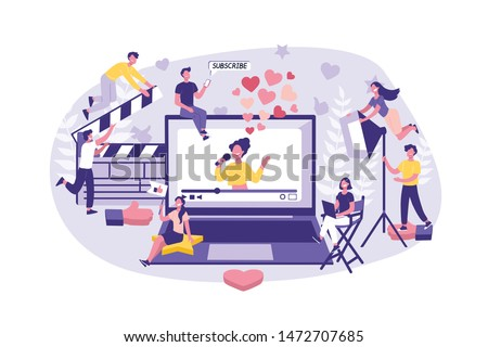 Business Concept Influencer marketing. Big group of Clerks ready teamwork, filming of the Celebrity and Advance of the Content. Team of businessmen together successfully perform the job. Cartoon flat