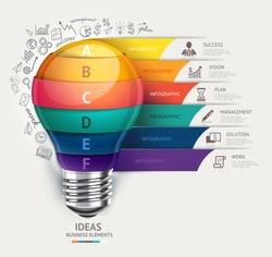 Business concept infographic template. Lightbulb and doodles icons set. Can be used for workflow layout, banner, diagram, web design.