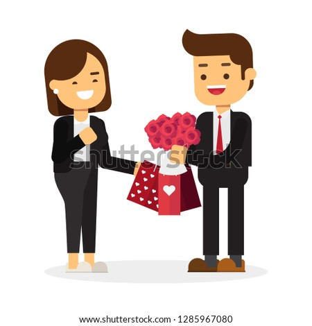 Business concept, Love in office. Businessman bought a lot of things for business woman, Happy Valentine's Day