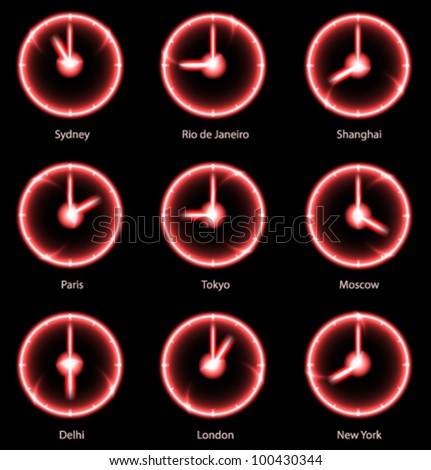 Business concept: Modern vector Time zones clocks. EPS10.