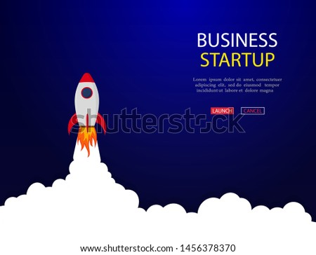 Business concept of banner with startup rocket.Launch rocket vector background. Shuttle in space. Landing page with launch rocket for start up businnes. vector eps10