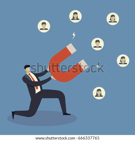 Business concept of businessman hold magnet attract customer.