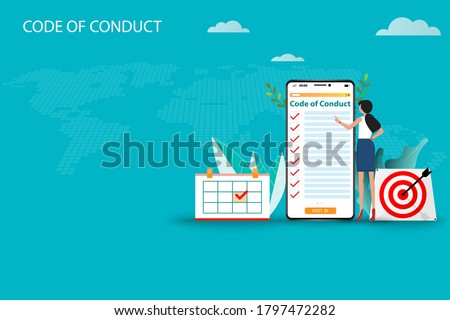 Business concept of code of conduct, businesswoman is standing near a big smartphone that the display contain list of code of conduct to read and understand each topic in green color background. Сток-фото ©