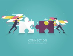 Business concept of solution, partnership, collaboration and support. Two Businessman combine puzzle pieces. Vector flat illustration.