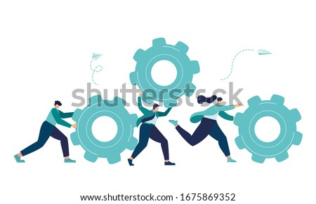 Business concept of vector illustration, little people links of mechanism, business mechanism, abstract background with gears, people are engaged in business promotion, strategy analysis,  vector