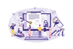 Business Concept Smart Contract, Deal, Banking, Cryptography, Trade, Cooperation, Transaction. Teamwork of Office Clerks Contracts, Agreements, Exchanges Cartoon flat Design Isolated Vector