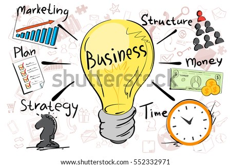 Business Concept Strategy Marketing Plan Doodle Hand Draw Sketch Background Vector Illustration