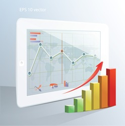 Business  concept: tablet computer with stock market application and  bar chart. Vector illustration.