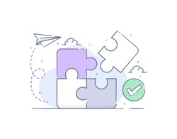 Business concept. Team metaphor. connecting puzzle elements. Vector illustration line filled design style. Symbol of teamwork, cooperation, partnership.