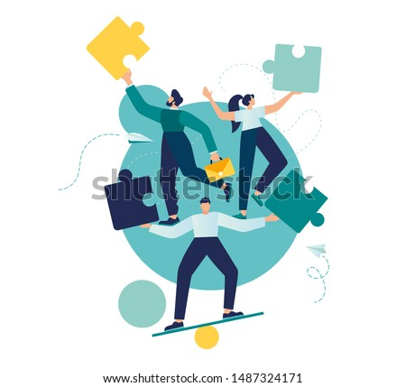 Business concept. Team metaphor. people are juggling puzzle elements. Vector illustration of a flat design style. Symbol of teamwork, cooperation, partnership.