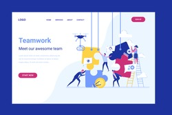 Business concept. Team metaphor. people connecting puzzle elements. Vector illustration flat design style. Teamwork, cooperation, partnership. team of men and women build a puzzle. Landing page
