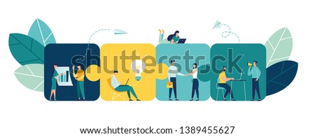 Business concept. Team metaphor. people connecting puzzle elements. Vector illustration flat design style. Symbol of teamwork, cooperation, partnership. #1389455627
