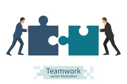 Business concept. Teamwork metaphor. Two businessmen connecting puzzle elements. Vector illustration flat style design. Combining two pieces. Symbol of working together, cooperation, partnership.