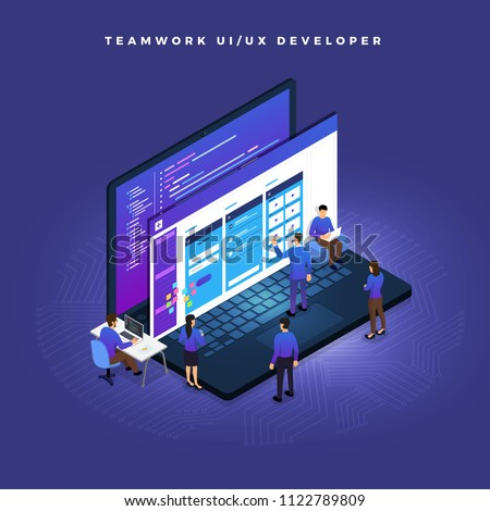Business concept teamwork of peoples working UI / UX Development. Vector illustrations.
