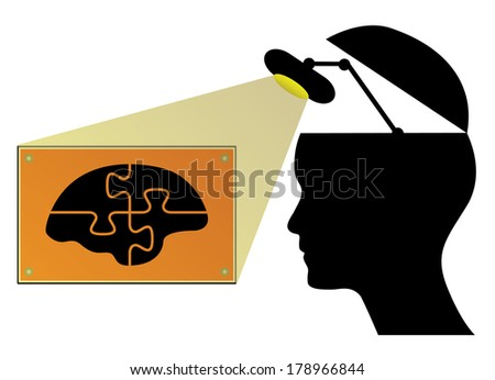 Business concept vector design with human head, lamp and brain.