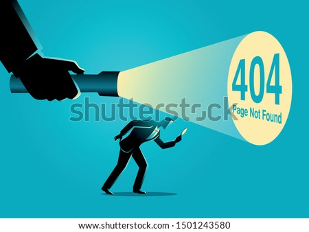 Business concept vector illustration of a businessman being guided by a hand holding a flashlight uncovering 404 error page not found sign