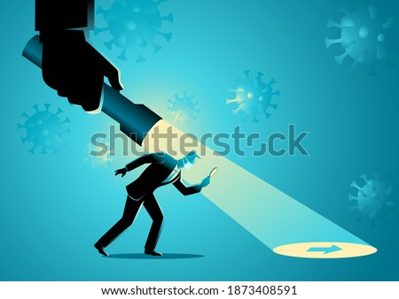 Business concept vector illustration of a businessman being guided by a hand holding a flashlight uncovering arrow sign during pandemic Сток-фото ©