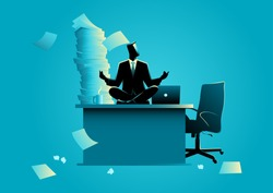 Business concept vector illustration of a businessman doing yoga on office table. Try to relax from overload work