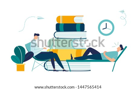 Business concept vector illustration of a businessman having therapy with a psychologist