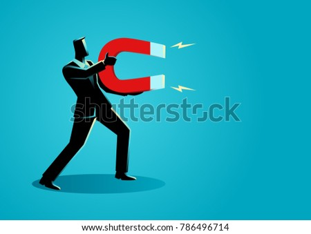 Business concept vector illustration of a businessman holding a large magnet