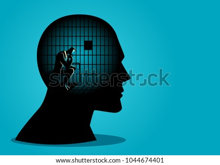 Business concept vector illustration of a businessman in human head being in jail, struggle, lack of creativity, restrictions on the freedom of thought concept.