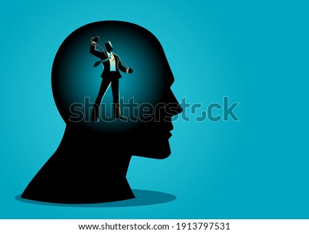 Business concept vector illustration of a businessman in human head breaking chains, freedom, free your mind, struggle, revolution in business concept Photo stock ©
