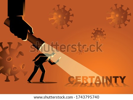 Business concept vector illustration of a businessman looking for certainty during covid-19 pandemic Сток-фото ©