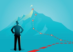 Business concept vector illustration of a businessman looking the red lines which leading to the top of a mountain