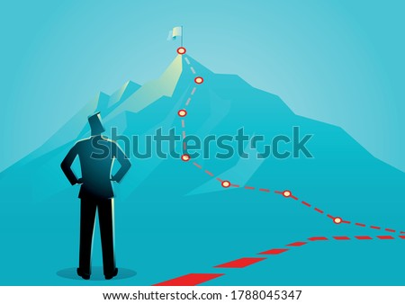 Business concept vector illustration of a businessman looking the red lines which leading to the top of a mountain Foto d'archivio ©