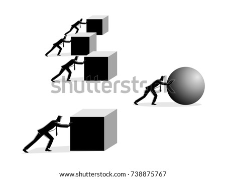 Business concept vector illustration of a businessman pushing a sphere leading the race against a group of slower businessmen pushing boxes. Winning strategy, efficiency in business concept