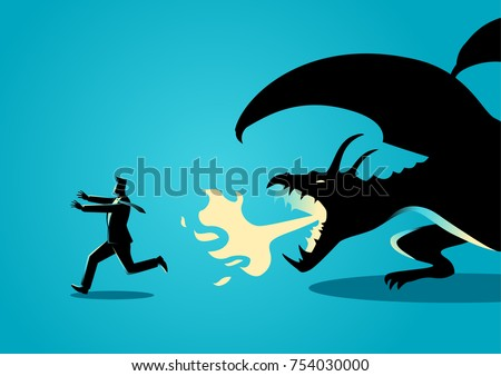 Business concept vector illustration of a businessman running away from a dragon. Risk, fear of challenges in business concept
