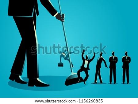 Business concept vector illustration of a businessman sweeping, businessmen being swept by a broom. Downsizing, employee reduction concept